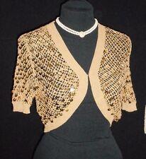 USA NWOT M Silk Shrug Gold Spangle Crochet s/s Jr. Dress up Party Holiday