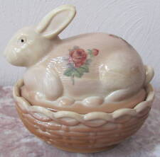 Bunny Rabbit on Basket Dish w/ Burgandy Roses Chocolate Glass Mosser Rosso USA