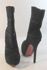 "Blacks 6""high Stiletto  heel 2""platform round toe sexy ankle boot size 10"