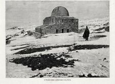 Stampa antica ETNA Catania Osservatorio Astronomico Bellini Sicilia 1891