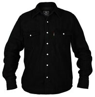 Superb Quality New Mens Duke Western Denim Shirt Black
