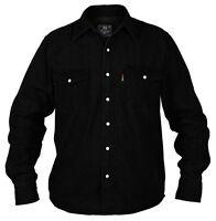 Superb Quality New Mens Duke Western Denim Shirt Black