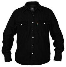 Duke London Mens Long Sleeve Western Denim Shirt Top L Black