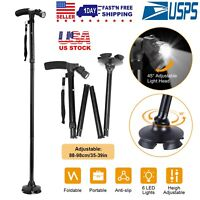 Foldable Canes Walking Cane Adjustable Walking Aid Stick for Men Women w/LED
