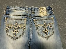 Mens Rock Revival Jeans 33x 30 Distressed/ Destroyed