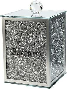 Square XXL Biscuit Jar Tin Crushed Crystal Diamond Silver Filled Kitchen Latest