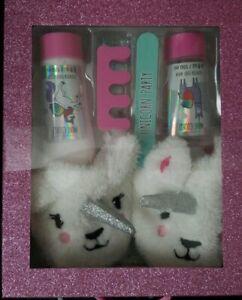 Girls Unicorn Slippers Foot Spa Set ~ Slippers, Wash, Lotion,  2 Toe Separators