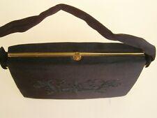 Vintage Handbag Embroidered Purse Black Satin Evening Bag w/ Metal Frame