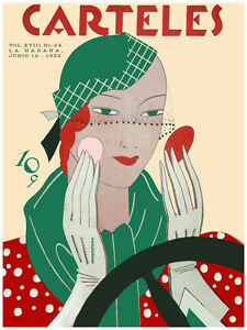 """20x30""""Poster on CANVAS decor.Room art.Lady Driving putting makeup.6756"""