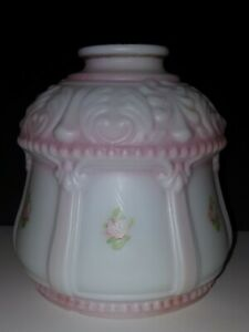Vintage Parlor Lamp Shade Milk Glass Globe w/ Hand Painted Pink Rose Buds