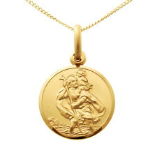 """SMALL 9CT GOLD ST SAINT CHRISTOPHER PENDANT CHAIN NECKLACE WITH 18"""" CHAIN - 14mm"""
