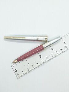 VTG bc pink clover pattern Platinum short fountain pen - 18k f nib