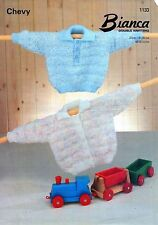 """~ Chevy Baby Knitting Pattern For Lovely Collared Jumper & Cardigan ~ 18"""" ~ 24"""""""