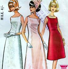 "Vintage 60s DRESS & PETTICOAT Sewing Pattern Bust 34"" Sz 10 Evening WEDDING Prom"