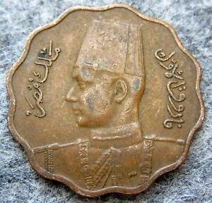 EGYPT KING FAROUK 1943 - AH 1362 10 MILLIEMES, SCALLOPED EDGE