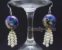 SALE 4-5mm Round White Natural Pearl & 18mm Blue Cloisonne Dangle earring-ear522