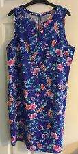 George Linen Mix Blue Patterned Shift Dress Size 18 Ex. Con
