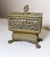 antique ornate 1800's figural bronze brass Victorian claw footed box casket case