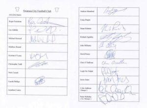 Swansea City FC - Signed Team Sheet - COA (14920)