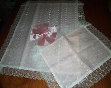 VTG Baby Pillow Sham Blanket Set Pink Sheer Organza White Lace Embroidery EATON