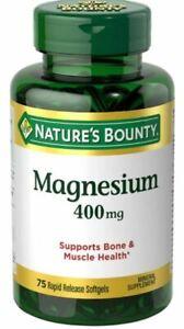 2PK Nature's Bounty Magnesium 400 mg, 75 Softgels 074312594083YN