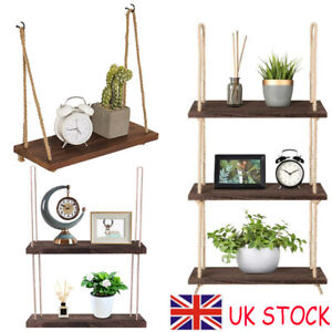 Rustic Wooden Hanging Rope Shelf Wall Mounted Floating Shelf Storage 1/2/3 Tiers