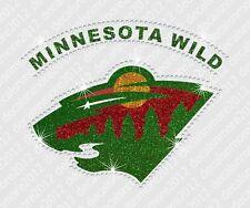 Nhl: Mn Minnesota Wild - Bling - Iron-on Glitter Vinyl/Rhinestone Decal Transfer