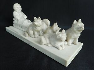 Vintage Inuit Carved Stone Figure of an Eskimo with Sledge and Huskeys  !