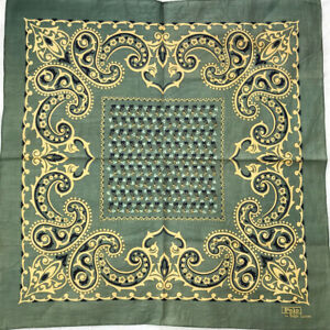 Vintage Bandana Cotton Green Yellow Antique Paisley Handkerchief Square 20""