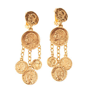 RRP €335 OSCAR DE LA RENTA Chandelier Earrings Coin Charms Clip On Made in USA