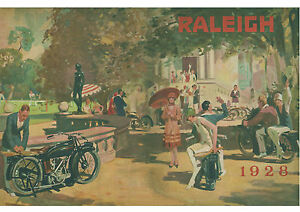 1928 Raleigh motorcycles art deco poster