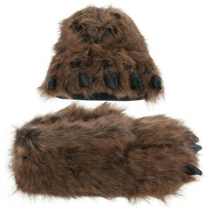 NEW Fuzzy Grizzly Bear Paw Slippers for Women and Men