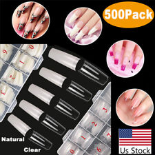 New Listing500Pcs/Box Acrylic French Half False Nail Tips Coffin Flat C Curve Long Nails Us