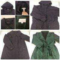 Lot 3 Womens Size Large Winter & Fall Coats Jacket Green Trench Hooded Navy Blue
