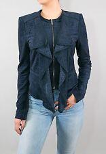 BCBG BCBGMAXAZRIA Blue Ruffled Eyelet Zipper Jacket size Small