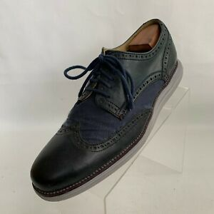 Cole Haan Grand OS Oxford Wingtip Brogue Navy Blue Leather Canvas Shoes Size 11W