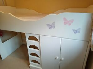 Chartley Mid-sleeper Cabin Bed, under bed storage cupboard and play area