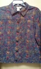 COLDWATER CREEK Women Jacket Small Floral Embroidery Flowers Denim