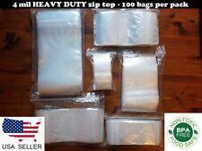 100 Clear Poly Plastic Zip Seal Bags 4 Mil Heavy Duty Reclosable Top Lock Zipper