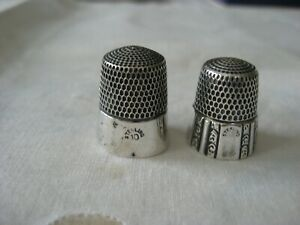Vintage Pair Simons Sterling Silver Panel/Scroll Size 8  & Plain Thimble Size 10