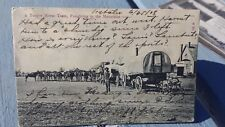 1908 12 Horse Team Freighting To Mountains Covered Wagons Picture Postcard