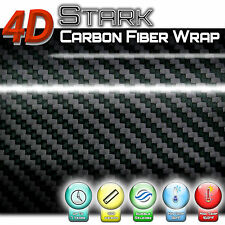 4D Black Glossy Carbon Fiber Vinyl Wrap Film Roll Sheet Bubble Free Air Release
