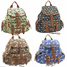 Ladies Girls Large Animal Cats Rucksack Backpack Duffle School Gym Travel Bag