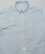 Brooks Brothers NON IRON Dress Shirt Blue Striped 16 34 Slim Fit ~ New