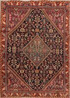 Antique Geometric Sultanabad Hand-Made Area Rug Traditional Oriental Carpet 4x6