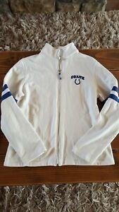 Baltimore Colts NFL Womens Jacket Size Medium White Blue Zip Long Sleeve Pockets