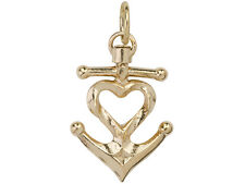 Waxing Poetic HEART ANCHOR Charm [ANCH2BR-HRT] - BRASS