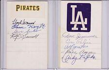 signed index card Pirates Lloyd Waner, Glenn Wright, Rip Sewell Gus Suhr w/COA