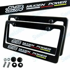 Black ABS License Plate Frame with Caps for Honda Civic Fit Acura JDM Mugen X2