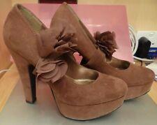 Love Label suede platform court shoes, detachable flower trim,Size 5, Worn Once